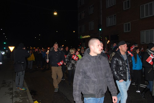 Demonstrators passing. At the first demonstration in Haderslev there were only 100 and now in the second demonstration 200